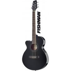 Mini-Jumbo, Linkshänder Westerngitarre mit FISHMAN Preamp, schwarz Hochglanz