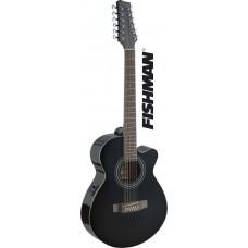 Mini-Jumbo, 12-Saiter Westerngitarre mit FISHMAN Preamp, schwarz Hochglanz