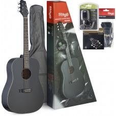 Akustik-Gitarren Pack, + Zubehör u. Einsteiger-Gitarrenunterricht CD, schwarz matt, SA30D-BK PACK