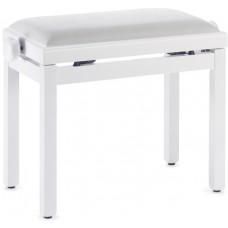 Klavierbank, weiss matt mit weißer Samtsitzfläche