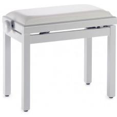 Klavierbank weiss Hochglanz mit weißer Kunstledersitzfläche