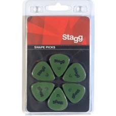 6 Stück Plektren, Picks, 0,73 mm, grün, Plektrum Satz