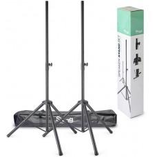 2 Lautsprecherstative aus Metall mit einklappbaren Füßen