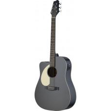 Dreadnought Gitarre, Linkshänder, schwarz matt mit Tonabnehmer