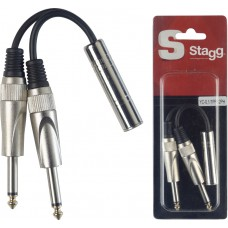Adapterkabel, 2x Mono-Klinkenstecker/ Stereo-Klinkenbuchse