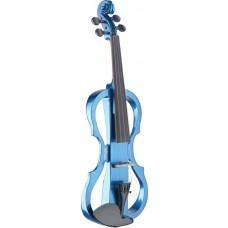 4/4 Silent Violin Set mit Blau Metallic Violine, Softcase und Kopfhörer