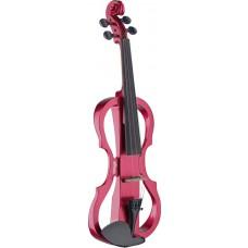 4/4 Silent Violin Set mit Rot Metallic Violine, Softcase und Kopfhörer, Geige