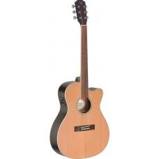Akustikgitarre mit massiver Decke aus Zeder, Ezra Serie 4/4 Cutaway