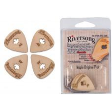 Packung mit 4 Riversong Original 0.46mm Ahorn und Fibretone Plektren