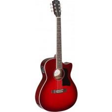 Auditorium Akustikgitarre mit massiver Fichtendecke in Transparent Redburst
