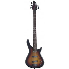 "5-saitige ""Fusion"" E-Bassgitarre, Stagg, Farbe sunburst"