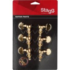 3+3 Mechaniken für e-Gitarre, gold, runde Flügel