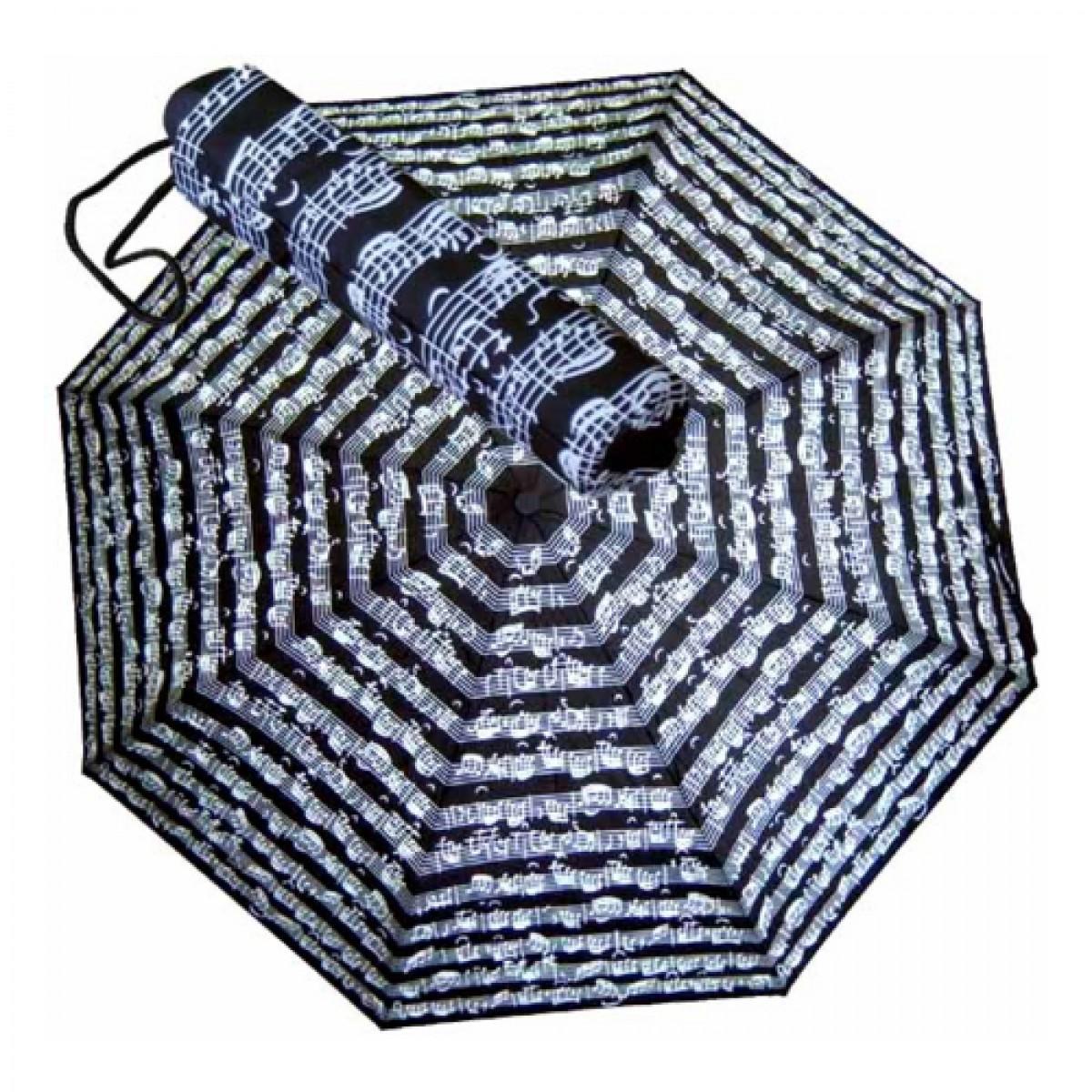 Regenschirm Knirps, Taschenschirm, Noten, schwarz