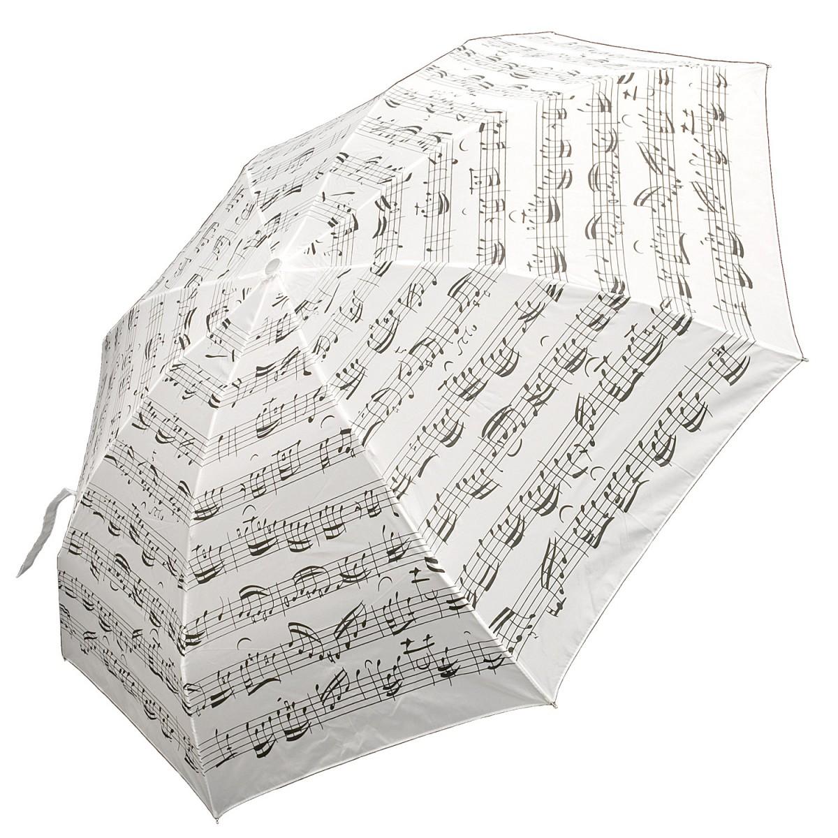 Regenschirm Mini, weiss, notenzeilen