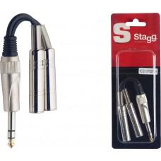 1x Mannliche stereoklinke/2x Weibliche monoklinke adapter kabel im blister
