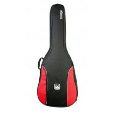 Tasche für 3/4 Konzertgitarre, 10 mm Polsterung, rot-schwarz