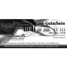 250 EUR Pianelli Gutschein für Musikinstrumente und Zubehör, Gitarre, Piano...