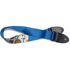 Gitarrengurt mit großem mexikanischen Totenkopf blau
