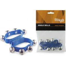 Glocken-Armbänder-Fasching - jedes Armband mit 4 Glocken, Breite 20mm, blau, SWRB4 S/BL