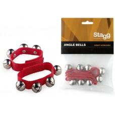 Glocken-Armbänder-Fasching - jedes Armband mit 4 Glocken, Breite 20mm, Farbe rot, SWRB4 S/RD