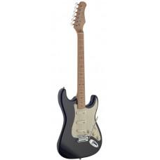 E-Gitarre mit massivem Erlenkorpus Vintage Style in schwarz