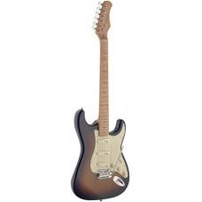 E-Gitarre mit massivem Erlenkorpus in sunburst Vintage Style