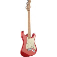 E-Gitarre mit massivem Erlenkorpus rot im Vintage Style