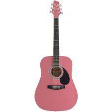 Akustische Dreadnought, Westerngitarre 3/4, in Pink