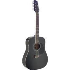 Dreadnought Gitarre mit Fichtendecke, 12-saiter, schwarz Hochglanz