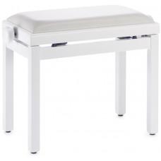 Klavierbank weiss matt mit weißer Vinylsitzfläche