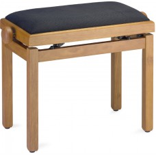 Klavierbank Eiche matt mit schwarzem Stoffpolster