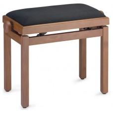 Klavierbank Kirsche matt mit schwarzem Stoffpolster