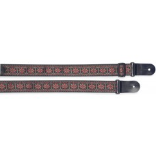 Gitarrengurt, rot-schwarz, mit Kreuz-Motiv