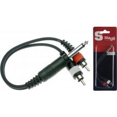 1x Mannliche monoklinke/2x Mannliche Cinch-stecker adapter kabel im blister