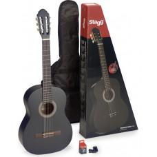 Gitarren Set 4/4 schwarz matt, Stagg, inkl. Tasche u. Stimmgerät