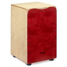 Cajon aus Birke mit Tasche, rote Frontplatte