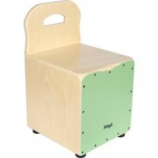 Kinder-Cajon mit Rückenlehne, Frontplatte grün