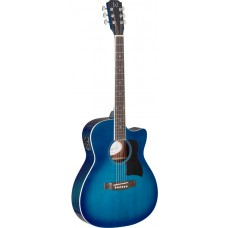 Akustikgitarre mit massiver Fichtendecke in blau J.N Gitarren