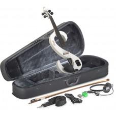 4/4 E-Violine Set aus weißer E-Violine in S-Form, Softcase und Kopfhörer