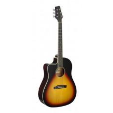 Westerngitarre mit Tonabnehmer, Sunburst, Linkshänder