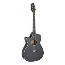 Westerngitarre mit Tonabnehmer, schwarz, Linkshänder