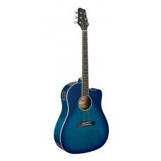 Westerngitarre mit Tonabnehmer, blau