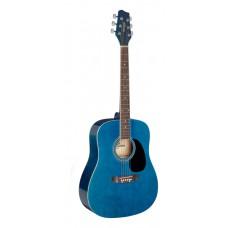 3/4 Blau Dreadnought Akustikgitarre mit Decke aus Lindenholz