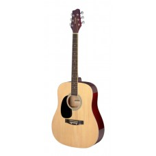 3/4 Natur Dreadnought Akustikgitarre mit Decke aus Lindenholz, Linkshändermodell