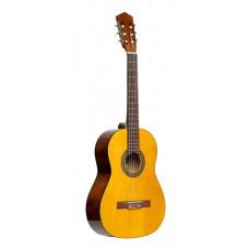 Gitarrenpack, 3/4 klassische Gitarre, Naturfarbe, Lindendecke, Stimmgerät, Tasche und farbige Box