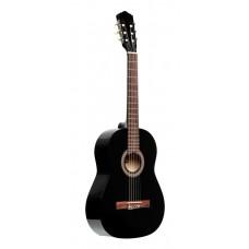 Gitarrenpack, 4/4 klassische Gitarre, schwarz, Lindendecke, Stimmgerät, Tasche und farbige Box
