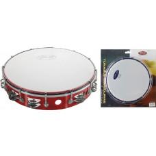 """12"""" stimmbares Kunststoff Tambourin, rot, 2 Schellenreihen"""