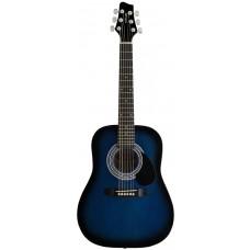 Akustische Dreadnought Gitarre, Größe 1/2, Stagg, Blackburst
