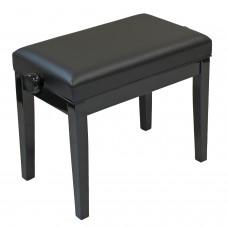 Klavierbank schwarz Glanz, stabile Doppelscherenmechanik, umlaufendes Polster