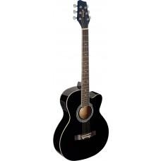 Westerngitarre, schwarz mit Tonabnehmer